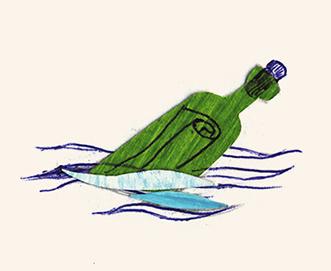 Schatzsuche Flaschenpost Illustration
